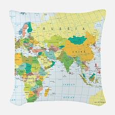 World Map Woven Throw Pillow