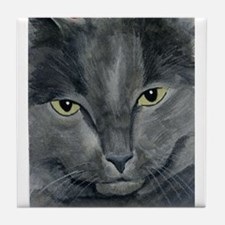 Russian Blue Cat Tile Coaster