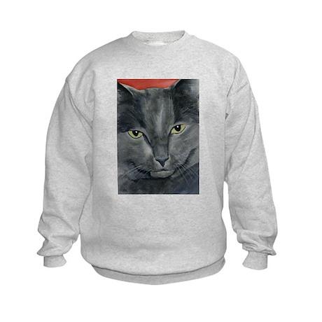 Russian Blue Cat Kids Sweatshirt