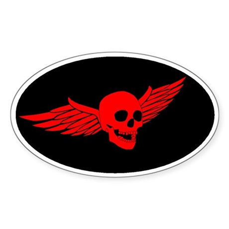 Red Flying Skull Sticker