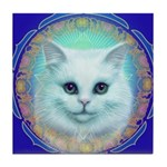 White Kitten Tile Coaster