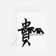 MMA Kanji Honor - Black Logo Greeting Card
