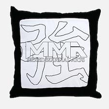MMA Kanji Strong - white logo Throw Pillow