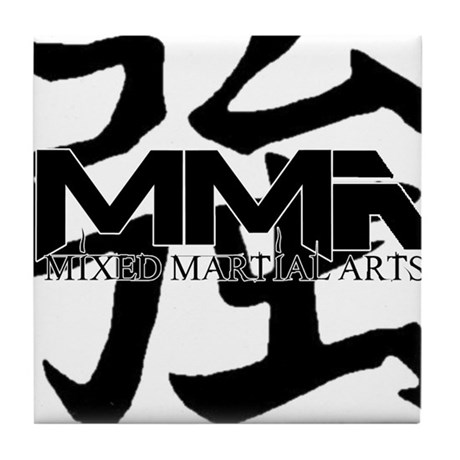 MMA Kanji Strong - Black Logo Tile Coaster