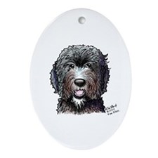 WB Black Doodle Oval Ornament