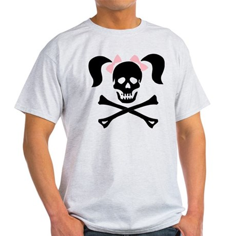 Girl Skull With Pink Bow Light T-Shirt