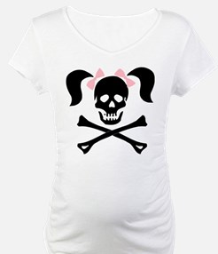 Girl Skull With Pink Bow Shirt