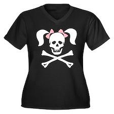 Girl Skull W Women's Plus Size V-Neck Dark T-Shirt