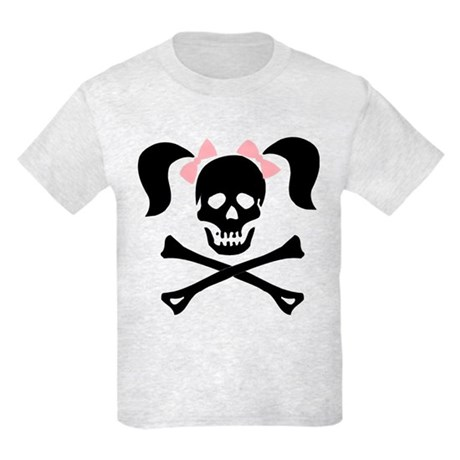 Girl Skull With Pink Bow Kids Light T-Shirt