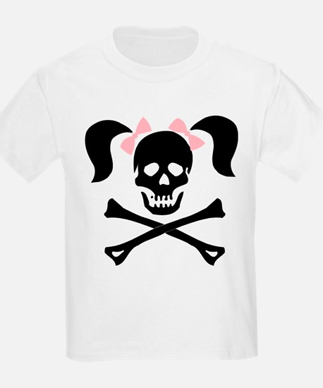Girl Skull With Pink Bow T-Shirt