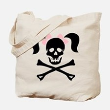 Girl Skull With Pink Bow Tote Bag
