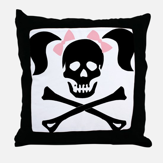 Girl Skull With Pink Bow Throw Pillow