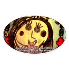 Kids Art: Pablo Picasso Quote Oval Decal