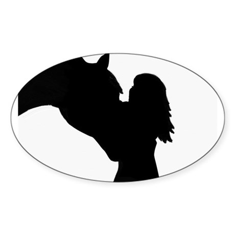 girl and horse Oval Sticker