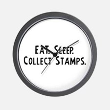 Eat, Sleep, Collect Stamps Wall Clock