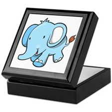 Blue Baby Elephant Walking Keepsake Box
