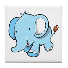 Blue Baby Elephant Walking Tile Coaster