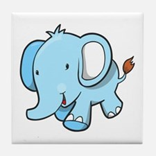 Blue Baby Elephant Walking Tile Coaster