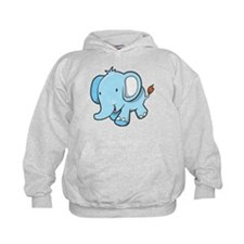 Blue Baby Elephant Walking Hoodie