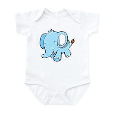 Blue Baby Elephant Walking Infant Bodysuit