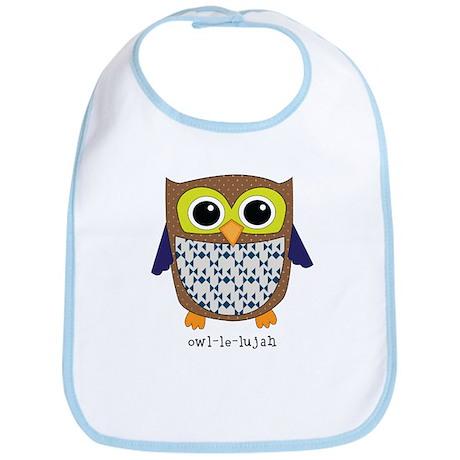 Retro Owl in blue Bib