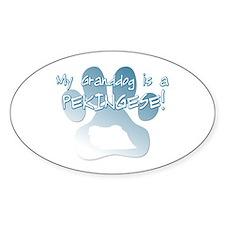 Pekingese Granddog Oval Decal