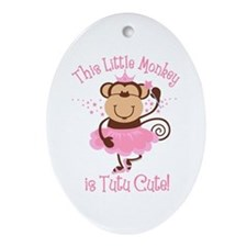 Tutu Cute Monkey Oval Ornament