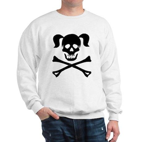 Skull and Cross Bones With Pigtails Sweatshirt