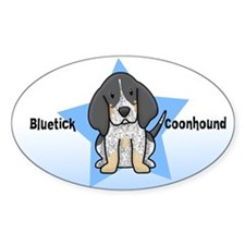 Star Kawaii Bluetick Coonhound Oval Decal
