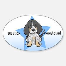 Star Kawaii Bluetick Coonhound Oval Decal