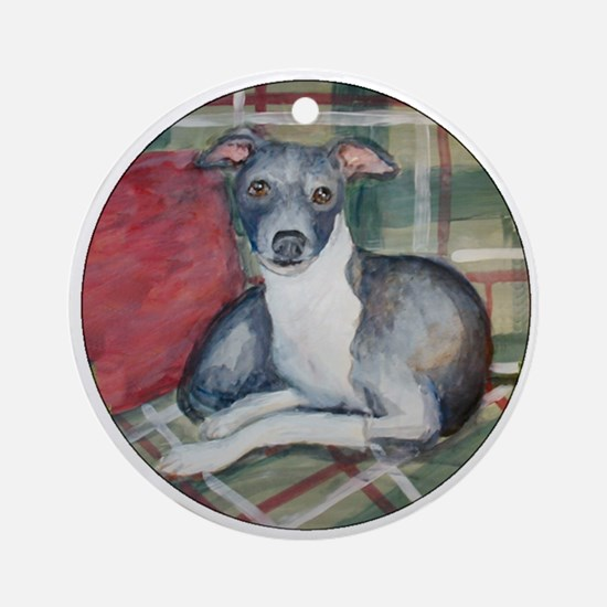 An Italian Greyhound Ornament (Round)