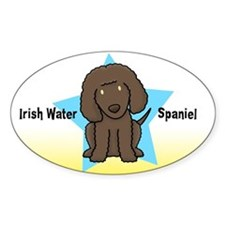 Star Kawaii Irish Water Spaniel Oval Decal