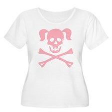 Pink Skull and Cross Bones With Pigtails T-Shirt