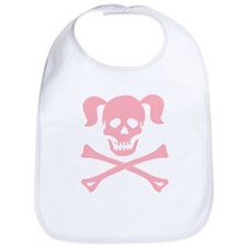 Pink Skull and Cross Bones With Pigtails Bib