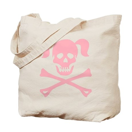 Pink Skull and Cross Bones With Pigtails Tote Bag