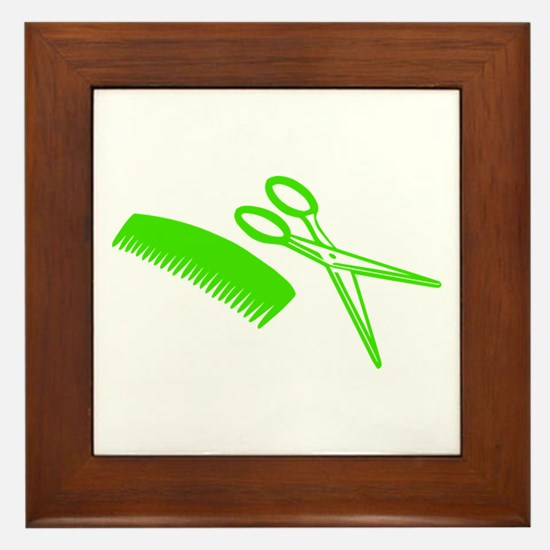 Comb & Scissors - Hairdresser Framed Tile