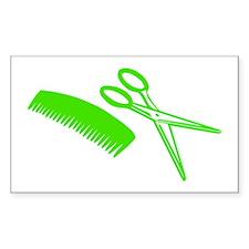 Comb & Scissors - Hairdresser Rectangle Sticker 1