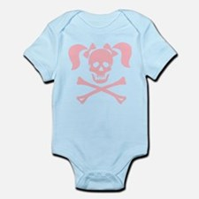 Skull & Cross Bones Pigtails & Bow Infant Bodysuit