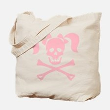Skull & Cross Bones Pigtails & Bow Tote Bag