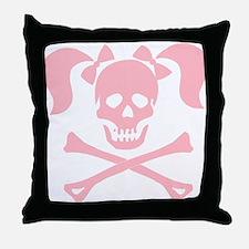 Skull & Cross Bones Pigtails & Bow Throw Pillow