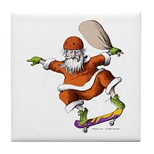 Skateboarding Santa Tile Coaster