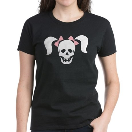 Skull With Pigtails & Bow Women's Dark T-Shirt