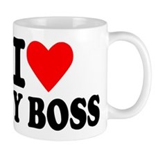 I love my boss Small Mugs