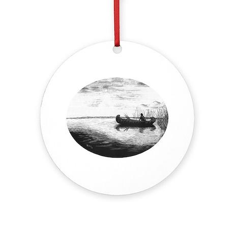 Canoe Silhouette Ornament (Round)