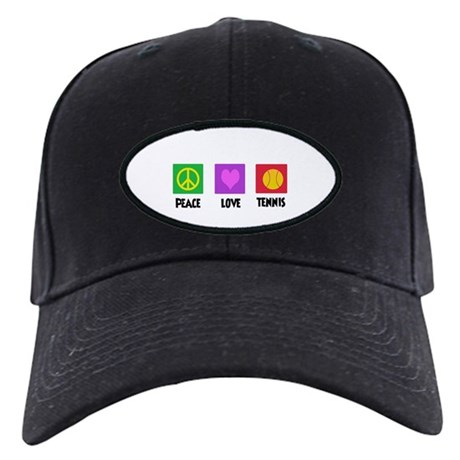 PEACE LOVE TENNIS Black Cap
