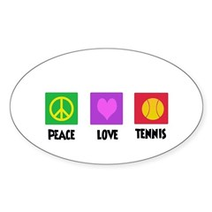 PEACE LOVE TENNIS Oval Decal