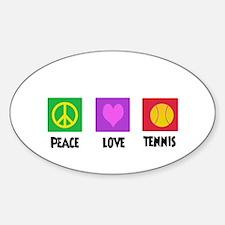 PEACE LOVE TENNIS Oval Decal