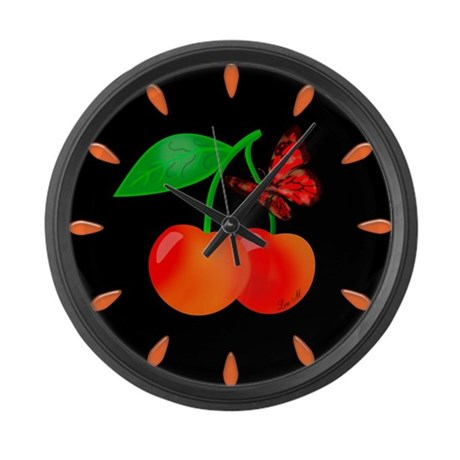 """""""Cherries and butterfly"""" Large Wall Cloc"""