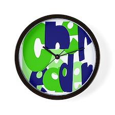 Jumbled Cheerleader Green Blu Wall Clock