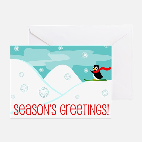 Skiing Penguin Greeting Cards (Pk of 10)